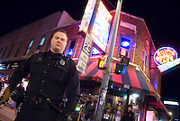 Memphis, Tennessee, February 2009. Even this local Police officer turns out to be the former drummer of the Bobby Bland band. Beale Street is known for its famous Blues Clubs with daily live performances. The city of Memphis is the place where Blues and Soul Music grew famous. Photo by Frits Meyst/Adventure4ever.com