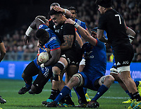 NZ's Codie Taylor tackles France's Dany Priso during the Steinlager Series international rugby match between the New Zealand All Blacks and France at Forsyth Barr Stadium in Wellington, New Zealand on Saturday, 23 June 2018. Photo: Dave Lintott / lintottphoto.co.nz