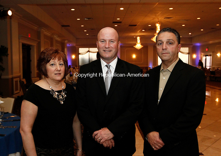 Waterbury, CT- 01 May 2014-050114CM10- SOCIAL MOMENTS---  Left to right,  Edna Geary, her husband and chief of staff for the City of Waterbury, Joe Geary and Anthony D'Elia, owner of the Ponte Club,  during the Saint Mary School 125th Anniversary Gala at La Bella Vista at the Pontelandolfo Community Club in Waterbury on Thursday.   Christopher Massa Republican-American