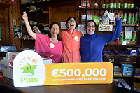 21-9-2017:  Mary Murphy, Post Mistress, Rerrin Post Office on Bere Island in County Cork pictured in her shop with Edel Murphy and Anne Marie Harrington on Thursday after she sold a 500,000 Euro Millions Plus ticket.<br /> Photo: Don MacMonagle<br /> <br /> Issued on behlf of The National Lottery