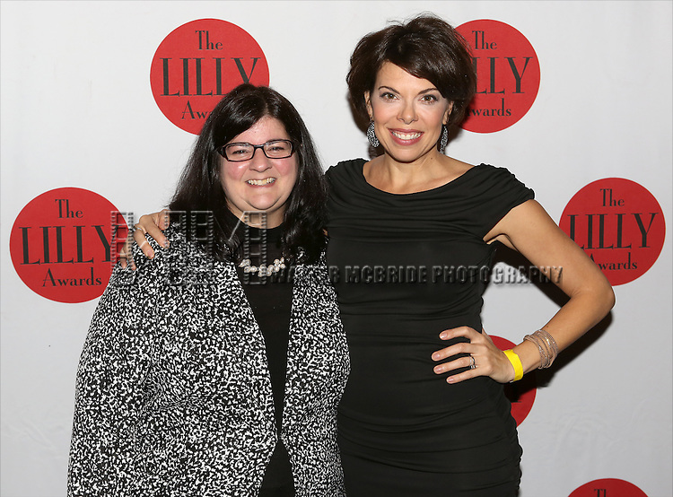 Barbara Anselmi and Jill Abramowitz backstage at The Lilly Awards Broadway Cabaret'   at The Cutting Room on November 9, 2015 in New York City.