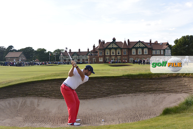 Beau Hossler (USA) playing into the 18th green during the afternoon singles for the Walker cup Royal Lytham St Annes, Lytham St Annes, Lancashire, England. 13/09/2015<br /> Picture Golffile | Fran Caffrey<br /> <br /> <br /> All photo usage must carry mandatory copyright credit (&copy; Golffile | Fran Caffrey)
