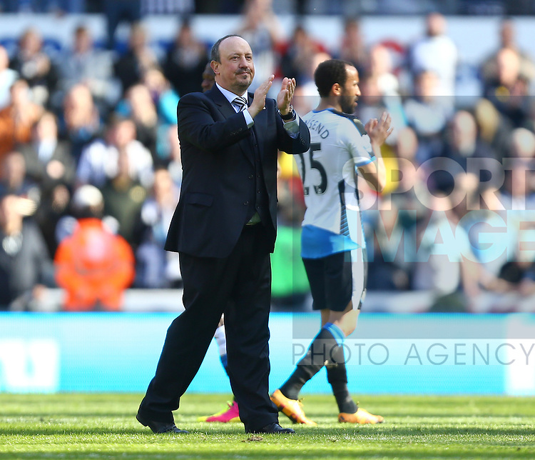 Rafa Benitez, manager of Newcastle United applauds the fans during the Barclays Premier League match at St James' Park. Photo credit should read: Philip Oldham/Sportimage