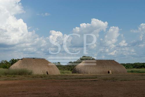 Aldeia Tanguro, Mato Grosso State, Brazil. Typical Kalapalo oca houses.