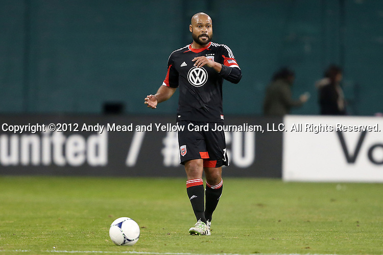 18 November 2012: DC's Robbie Russell (GHA). DC United played the Houston Dynamo at RFK Stadium in Washington, DC in the second leg of their 2012 MLS Cup Playoffs Eastern Conference Final series. The game ended in a 1-1 tie, Houston won the series 4-2 on aggregate goals.