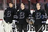 Blake Dougherty (Bentley - 29), Jared Rickord (Bentley - 27), Brett Gensler (Bentley - 26) - The visiting Bentley University Falcons defeated the Boston University Terriers 4-1 (EN) on Saturday, December 14, 2013, at Agganis Arena in Boston, Massachusetts.