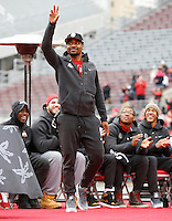 Ohio State Buckeyes quarterback Braxton Miller waves to the crowd during the celebration for winning the national championship at Ohio Stadium on Jan. 24, 2015. (Adam Cairns / The Columbus Dispatch)