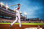 20 May 2014: Washington Nationals pitcher Doug Fister takes a practice swing on deck while facing the Cincinnati Reds at Nationals Park in Washington, DC. Fister recorded his first win of the season as the Nationals defeated the Reds 9-4 to take the second game of their 3-game series. Mandatory Credit: Ed Wolfstein Photo *** RAW (NEF) Image File Available ***
