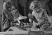 Carpentry workshop, Summerhill school, Leiston, Suffolk, UK. 1968.