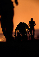 Silhouettes of two runners and a wheelchair participant against an orange sky at the annual grueling Ironman triatholon on the Big Island of Hawaii.
