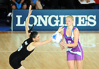 New Zealand's Anna Harrison fails to block a pass from Scotland's Claire Brownie<br /> <br /> Scotland Vs New Zealand - preliminary round - group A<br /> <br /> Photographer Chris Vaughan/CameraSport<br /> <br /> 20th Commonwealth Games - Day 3 - Saturday 26th July 2014 - Netball - SECC - Glasgow - UK<br /> <br /> © CameraSport - 43 Linden Ave. Countesthorpe. Leicester. England. LE8 5PG - Tel: +44 (0) 116 277 4147 - admin@camerasport.com - www.camerasport.com