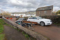 Pictured: Cars and debris.<br /> Re: Cleanup after storm Dennis in Crickhowell, Wales, UK.