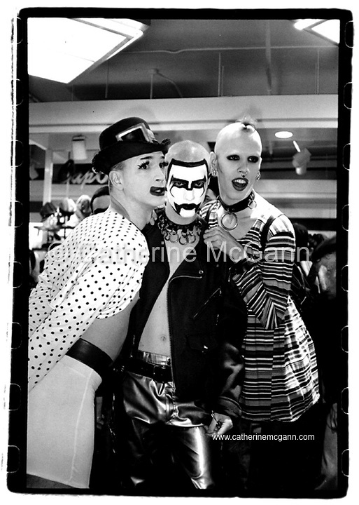 Michael Alig (L) and friends pose for a photo at a Rave at Macy's department store in October 1992 in New York City<br /> <br /> Copyright Catherine McGann / All Rights Reserved<br /> www.catherinemcgann.com<br /> catherinemcgann@gmail.com