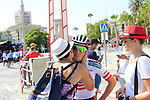 Lukas Postlberger (AUT) Bora-Hansgrohe recieves well wishes from family before the start of Stage 1 of the La Vuelta 2018, an individual time trial of 8km running around Malaga city centre, Spain. 25th August 2018.<br /> Picture: Eoin Clarke | Cyclefile<br /> <br /> <br /> All photos usage must carry mandatory copyright credit (© Cyclefile | Eoin Clarke)