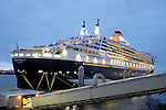 Cunard Line's Three Queens Meeting Liverpool. 24.5.15. Queen Mary 2 at Liverpool Cruise Liner Terminal,