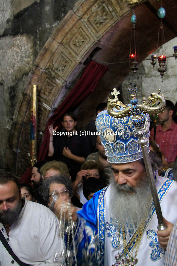 Israel, Jerusalem, Greek Orthodox Patriarch Theophilus III at Mary's Tomb on the Feast of the Assumption