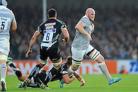 Matt Garvey of Bath Rugby takes on the Exeter Chiefs defence. Aviva Premiership match, between Exeter Chiefs and Bath Rugby on October 30, 2016 at Sandy Park in Exeter, England. Photo by: Patrick Khachfe / Onside Images
