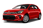 Stock pictures of low aggressive front three quarter view of a 2018 KIA Rio EX 5 Door Hatchback