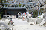 Sculptors working on local Portland stone in a community open air studio space at Tout Quarry, Isle of Portland, Dorset, England, UK