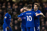 Chelsea's Eden Hazard celebrates scoring his side's third goal with team mate Cesc Fabregas <br /> <br /> Photographer Craig Mercer/CameraSport<br /> <br /> The Premier League - Chelsea v West Bromwich Albion - Monday 12th February 2018 - Stamford Bridge - London<br /> <br /> World Copyright &copy; 2018 CameraSport. All rights reserved. 43 Linden Ave. Countesthorpe. Leicester. England. LE8 5PG - Tel: +44 (0) 116 277 4147 - admin@camerasport.com - www.camerasport.com