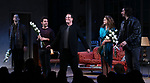 "David Furr, Brandon Uranowitz, Michael Mayer, Keri Russell and Adam Driver during the Broadway Opening Night Curtain Call for Landford Wilson's ""Burn This""  at Hudson Theatre on April 15, 2019 in New York City."