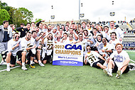 Towson, MD - May 6, 2017: Towson Tigers players pose for the Championship photo after the CAA Championship game between Towson and UMASS at Minnegan Field at Johnny Unitas Stadium  in Towson, MD. (Photo by Phillip Peters/Media Images International)