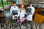 Mercy Mounthawk students going forward to the BT Young Scientists with their Safety sensor and camera by bicycles. L to r: Sean Fitzgibbons, Nicola Moriarty and Patrick Nolan.