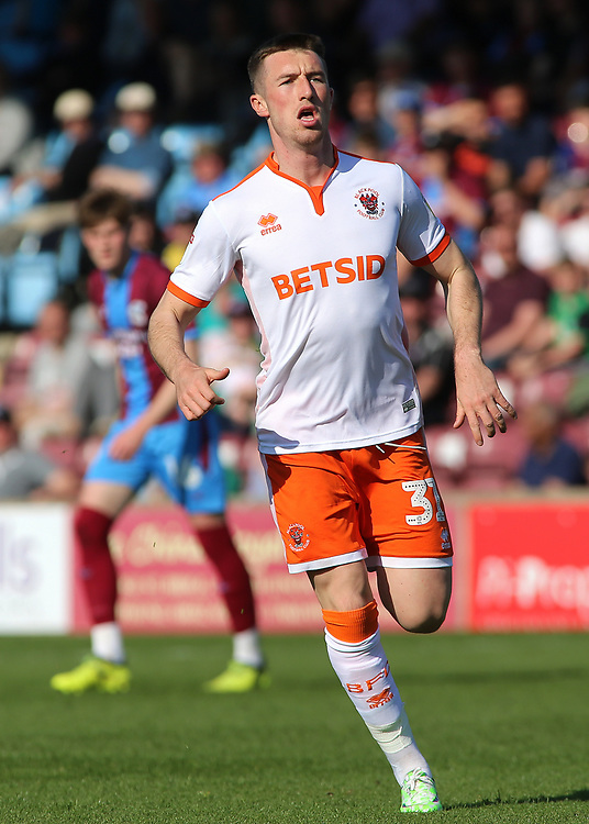 Blackpool's Chris Long in action<br /> <br /> Photographer David Shipman/CameraSport<br /> <br /> The EFL Sky Bet League One - Scunthorpe United v Blackpool - Friday 19th April 2019 - Glanford Park - Scunthorpe<br /> <br /> World Copyright © 2019 CameraSport. All rights reserved. 43 Linden Ave. Countesthorpe. Leicester. England. LE8 5PG - Tel: +44 (0) 116 277 4147 - admin@camerasport.com - www.camerasport.com