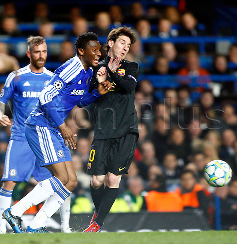 18.04.2012. Stamford Bridge, Chelsea, London. .Chelsea's Nigerian footballer John Obi Mikel  and Lionel Messi of  FC Barcelona.during the Champions League Semi Final 1st  leg match between Chelsea and Barcelona  at Stamford Bridge, Stadium on April 18, 2012 in London, England........