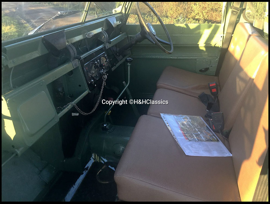 BNPS.co.uk (01202 558833)Pic: H&HClassics/BNPS<br /> <br /> The Landrover used by Mr McGregor in the new Hollywood film Peter Rabbit has emerged for sale for £15,000.<br /> <br /> The pastel green Landrover was used by the villainous farmer for various scenes shot in the Lake District.<br /> <br /> Mr McGregor, played by Irish actor Domhall Gleeson, can be seen driving it into a warehouse in Windemere with Peter and the other rabbits clinging on to the bottom of it.<br /> <br /> The animated film of the classic Beatrix Potter books, which is released in the UKn on March 16, also stars James Corden and Margot Robbie who provide the voice-overs for Peter Rabbit and Flopsy respectively.