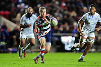 Adrian Jarvis of Bristol Rugby passes the ball. European Rugby Challenge Cup match, between Bristol Rugby and Bath Rugby on January 13, 2017 at Ashton Gate Stadium in Bristol, England. Photo by: Patrick Khachfe / Onside Images