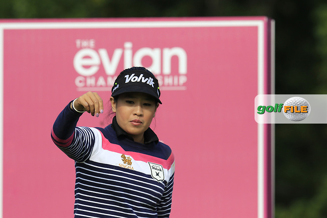 Thidapa Suwannapura (THA) on the par3 5th tee during Friday's Round 2 of the LPGA 2015 Evian Championship, held at the Evian Resort Golf Club, Evian les Bains, France. 11th September 2015.<br /> Picture Eoin Clarke | Golffile