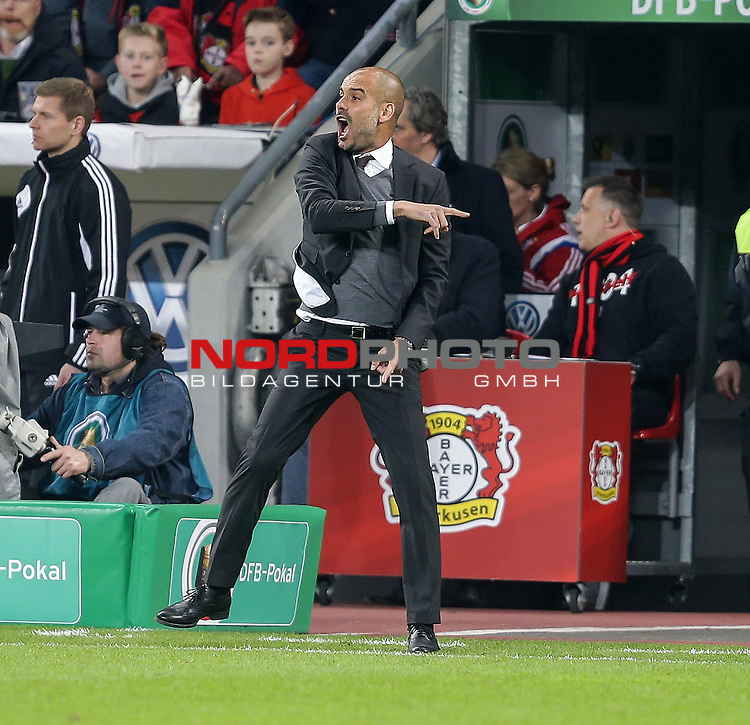 08.04.2015, BayArena, Leverkusen, DFB Pokal, Bayer 04 Leverkusen vs. Bayern M&uuml;nchen<br /> Trainer Josep Guardiola (M&uuml;nchen)<br /> <br /> Foto &copy; nordphoto /  Bratic
