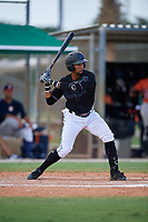 GCL Marlins Walner Espinal (14) at bat during a Gulf Coast League game against the GCL Astros on August 8, 2019 at the Roger Dean Chevrolet Stadium Complex in Jupiter, Florida.  GCL Marlins defeated GCL Astros 5-4.  (Mike Janes/Four Seam Images)