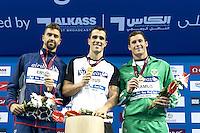 (L to R) ERVIN Anthony USA; FRATUS Bruno BRA; ERASMUS Douglas RSA<br /> 50 Freestyle men<br /> FINA Airweave Swimming World Cup 2015<br /> Doha, Qatar 2015  <br /> Nov.2 nd - 3 rd<br /> Day3 - Nov  3rd finals<br /> Photo G. Scala/Deepbluemedia/Insidefoto