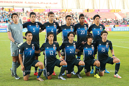U-23U-23 Japan team group line-up (JPN), <br /> JANUARY 22, 2016 - Football / Soccer : <br /> AFC U23 Championship Qatar 2016 <br /> Quarter-final match between <br /> Japan - Iran <br /> at Abdullah Bin Khalifa Stadium in Doha, Qatar. <br /> (Photo by Yohei Osada/AFLO SPORT)
