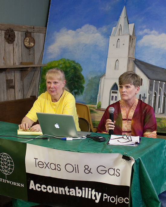 "PANNA MARIA, TX - SEPTEMBER 23, 2013: Wilma Subra, left, an environmental scientist who serves on the Board of Directors of Earhworks and serves is President of Subra Company, Inc., and Sharon Wilson, right, present a report titled, ""Reckless Endangerment While Fracking the Eagle Ford"", to residents of Karnes County and surrounding areas at a public meeting. CREDIT: Lance Rosenfield/Prime"