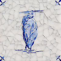 Egret Delft, a hand-cut cut jewel glass mosaic, shown in  Opal Sea Glass™ with jewel glass Lapis Lazuli, Iolite, and Covelite, is part of the Sea Glass™ Collection by New Ravenna.