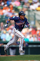 Minnesota Twins shortstop Engelb Vielma (1) runs to first base during a Spring Training game against the Baltimore Orioles on March 7, 2016 at Ed Smith Stadium in Sarasota, Florida.  Minnesota defeated Baltimore 3-0.  (Mike Janes/Four Seam Images)