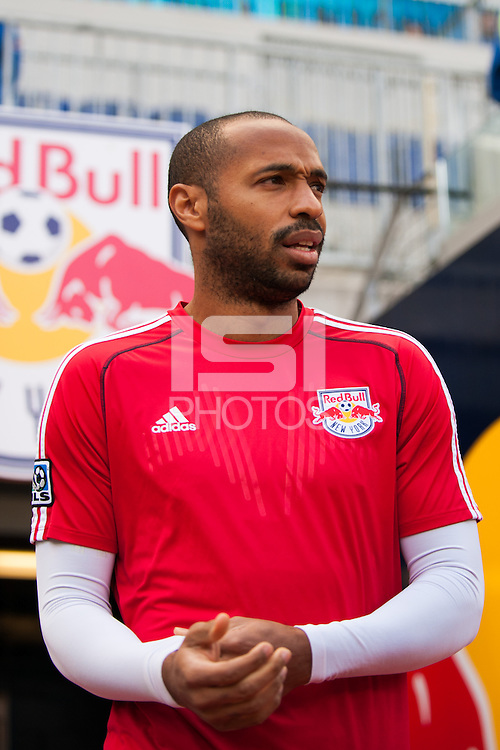 Thierry Henry (14) of the New York Red Bulls. The New York Red Bulls defeated the Philadelphia Union 2-1 during a Major League Soccer (MLS) match at Red Bull Arena in Harrison, NJ, on March 30, 2013.