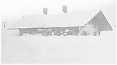 Cumbres depot with deep snow surrounding it.<br /> D&amp;RG  Cumbres, CO  Taken by Payne, Andy M. - 1929