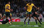 Beauden Barrett tackles Kurtley Beal.  Bledisloe Cup Rugby, All Blacks v Wallabies, Eden Park, Auckland, Saturday 17 August 2019. Photo: Simon Watts/www.bwmedia.co.nz