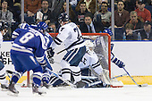 Ryan Timar (Air Force - 13), Colin Dueck (Yale - 21), Ryan Rondeau (Yale - 1), Sean Bertsch (Air Force - 15) - The Yale University Bulldogs defeated the Air Force Academy Falcons 2-1 (OT) in their East Regional Semi-Final matchup on Friday, March 25, 2011, at Webster Bank Arena at Harbor Yard in Bridgeport, Connecticut.