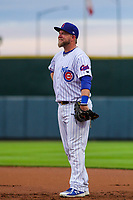 Iowa Cubs first baseman Taylor Davis (19) during a Pacific Coast League game against the Colorado Springs Sky Sox on June 22, 2018 at Principal Park in Des Moines, Iowa. Iowa defeated Colorado Springs 4-3. (Brad Krause/Four Seam Images)