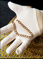 BNPS.co.uk (01202 558833)<br /> Pic:    HAldridge/BNPS<br /> <br /> Ronnie Kray's bracelet which sold for £1,800.<br /> <br /> A chilling bayonet that was used by gangster Ronnie Kray on his victims has sold at auction for over £3,000.<br /> <br /> The 16ins lethal blade was from a First World War rifle but belonged to Ronnie during his and twin Reggie's reign of terror in London's East End in the 1960s.<br /> <br /> Alongside the weapon, several personal items relating to the convicted murderer's time in prison were also sold.<br /> <br /> These included his prison-issue towel which has his surname and prisoner number written on along with the menacing words 'Do Not Remove'.