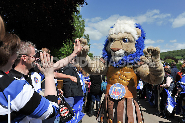 Bath Rugby mascot Maximus mingles with supporters prior to the match. Aviva Premiership match, between Bath Rugby and Gloucester Rugby on May 16, 2015 at the Recreation Ground in Bath, England. Photo by: Patrick Khachfe / Onside Images