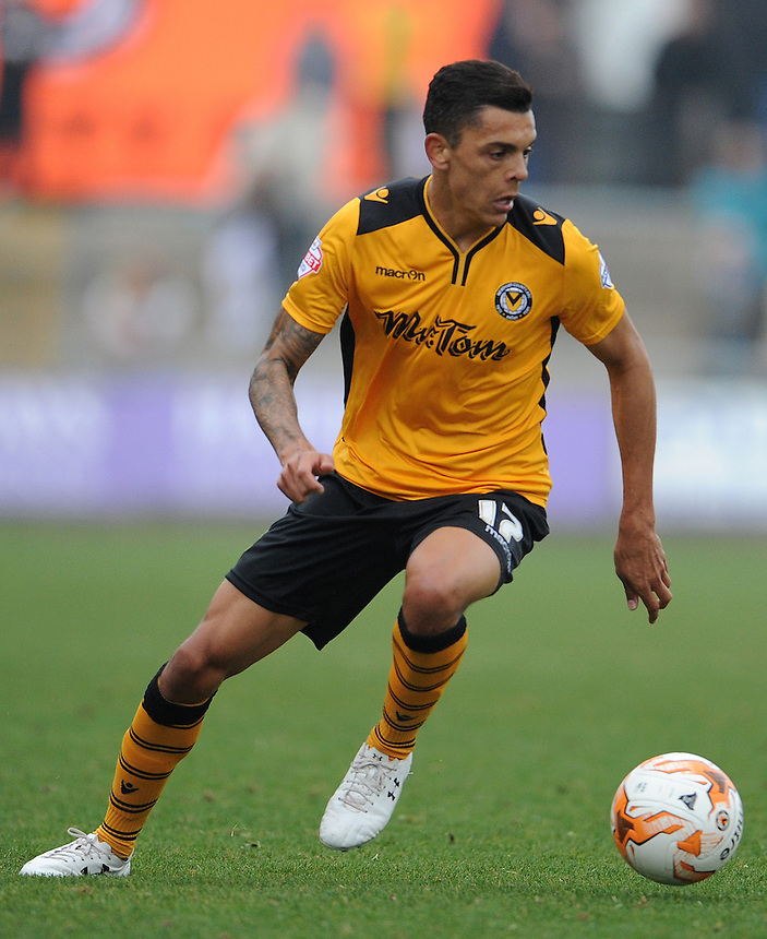 Newport County's Tyler Blackwood in action during todays match  <br /> <br /> Photographer  Ian Cook/CameraSport<br /> <br /> Football - The Football League Sky Bet League Two - Newport County AFC v Exeter City - Saturday 3rd October 2015 - Rodney Parade - Newport<br /> <br /> &copy; CameraSport - 43 Linden Ave. Countesthorpe. Leicester. England. LE8 5PG - Tel: +44 (0) 116 277 4147 - admin@camerasport.com - www.camerasport.com