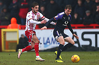 Jack Stacey of Luton Town and John Goddard of Stevenage during Stevenage vs Luton Town, Sky Bet EFL League 2 Football at the Lamex Stadium on 10th February 2018