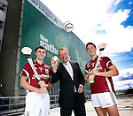 Aer Lingus The Gathering Hurling Tournament Launch..Galway Hurlers, Johnny Coen (left) and Niall Burke (right) with Aer Lingus CEO Christoph Mueller promoting the Aer Lingus Homecoming Hurling Tournament in association with The Gathering.