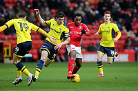 Tariqe Fosu of Charlton Athletic tries to retain possession of the ball as Oxford's John Mousinho gets ready to make a challenge during Charlton Athletic vs Oxford United, Sky Bet EFL League 1 Football at The Valley on 3rd February 2018
